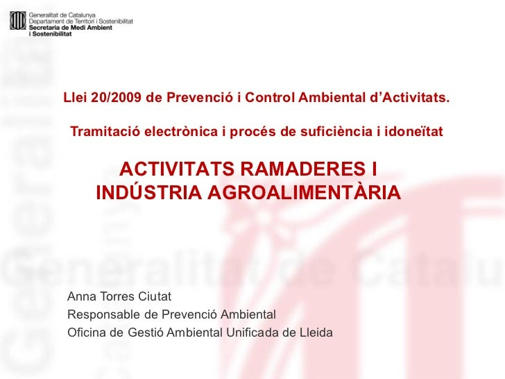 Llei PCAA. Activitats Ramaderes i Indústria Agroalimentària.pps