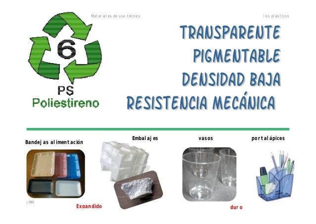 Materiales de uso técnico los plásticos jMM Bandejas alimentación Embalajes vasos portalápices Expandido duro