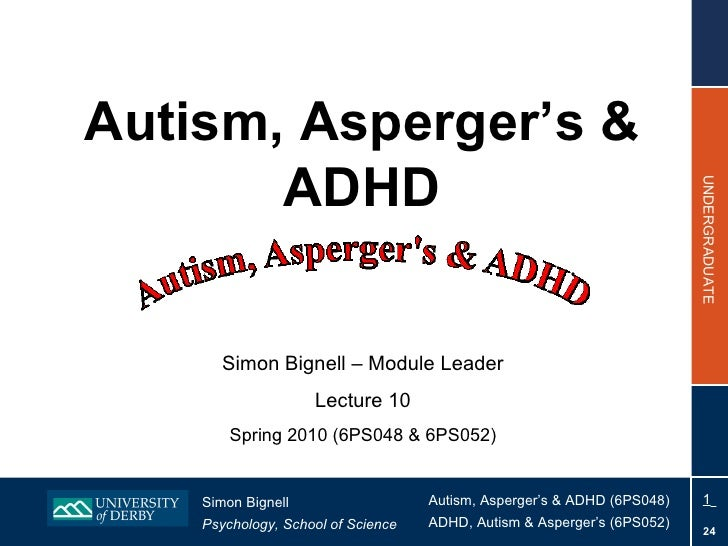 Autism, Asperger's & ADHD Simon Bignell – Module Leader Lecture 10 Spring 2010 (6PS048 & 6PS052)
