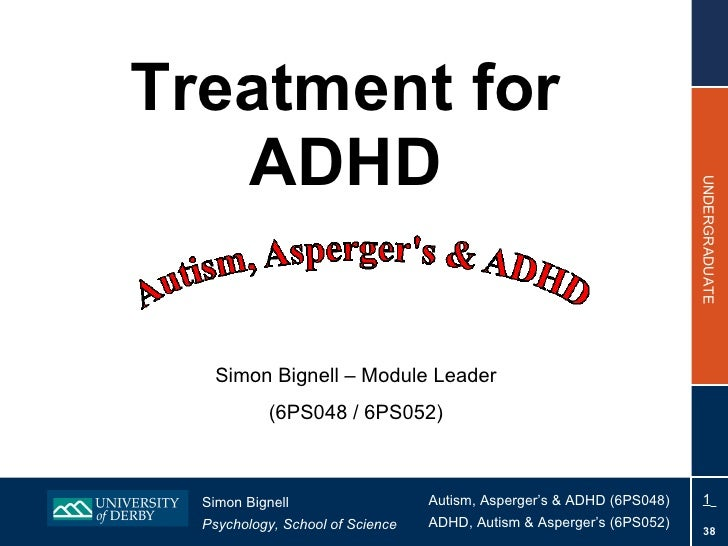 Treatment for ADHD Simon Bignell – Module Leader (6PS048 / 6PS052)