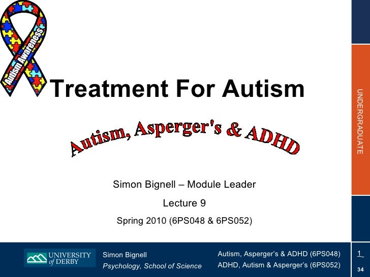 Treatment For Autism Simon Bignell – Module Leader Lecture 9 Spring 2010 (6PS048 & 6PS052)