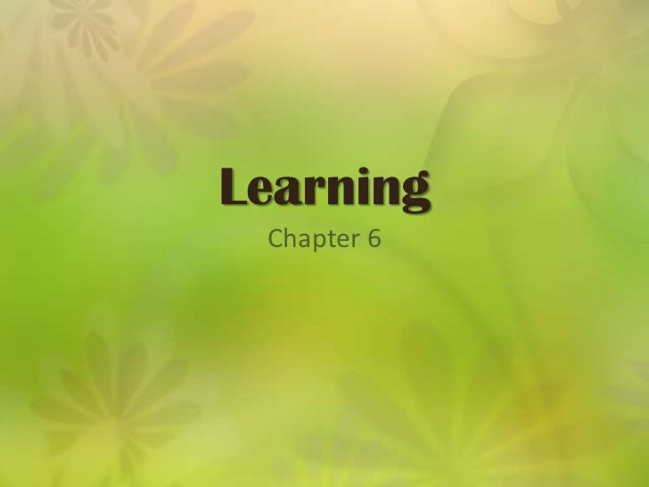 Learning<br />Chapter 6<br />