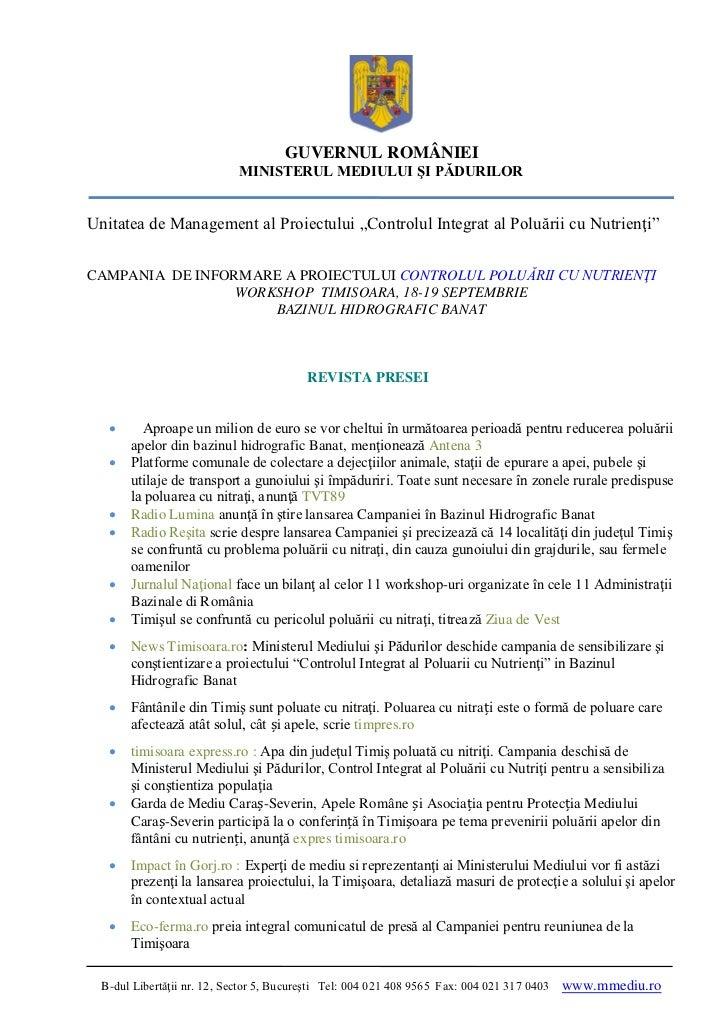 Revista presei - Workshop INPCP Timisoara 18 - 19 septembrie