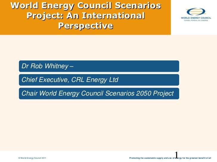 World Energy Council Scenarios Project: An International Perspective