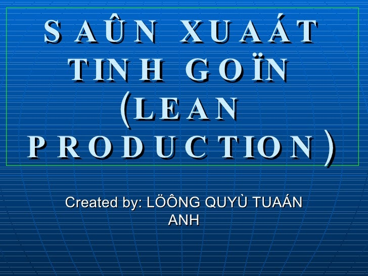 6 sigma lean production