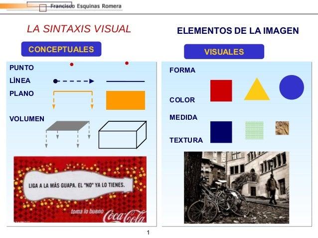 1 LA SINTAXIS VISUAL ELEMENTOS DE LA IMAGEN CONCEPTUALES PUNTO LÍNEA PLANO VOLUMEN VISUALES FORMA MEDIDA COLOR TEXTURA
