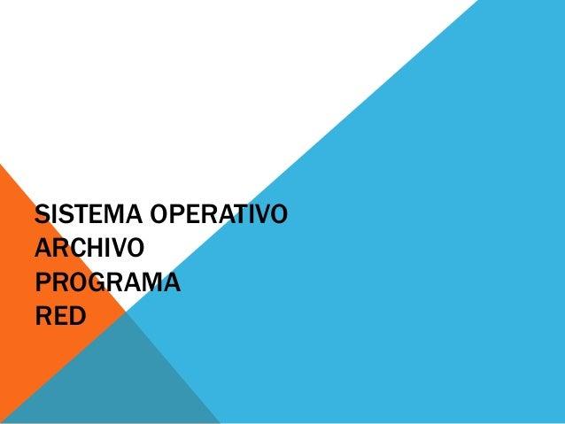 SISTEMA OPERATIVO ARCHIVO PROGRAMA RED