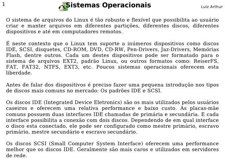 Sistemas Operacionais - Gnu/Linux Sistemas de Arquivos e Dispositivos