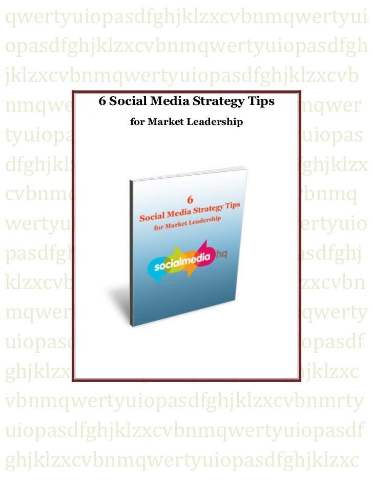 6 Social Media Strategy Tips