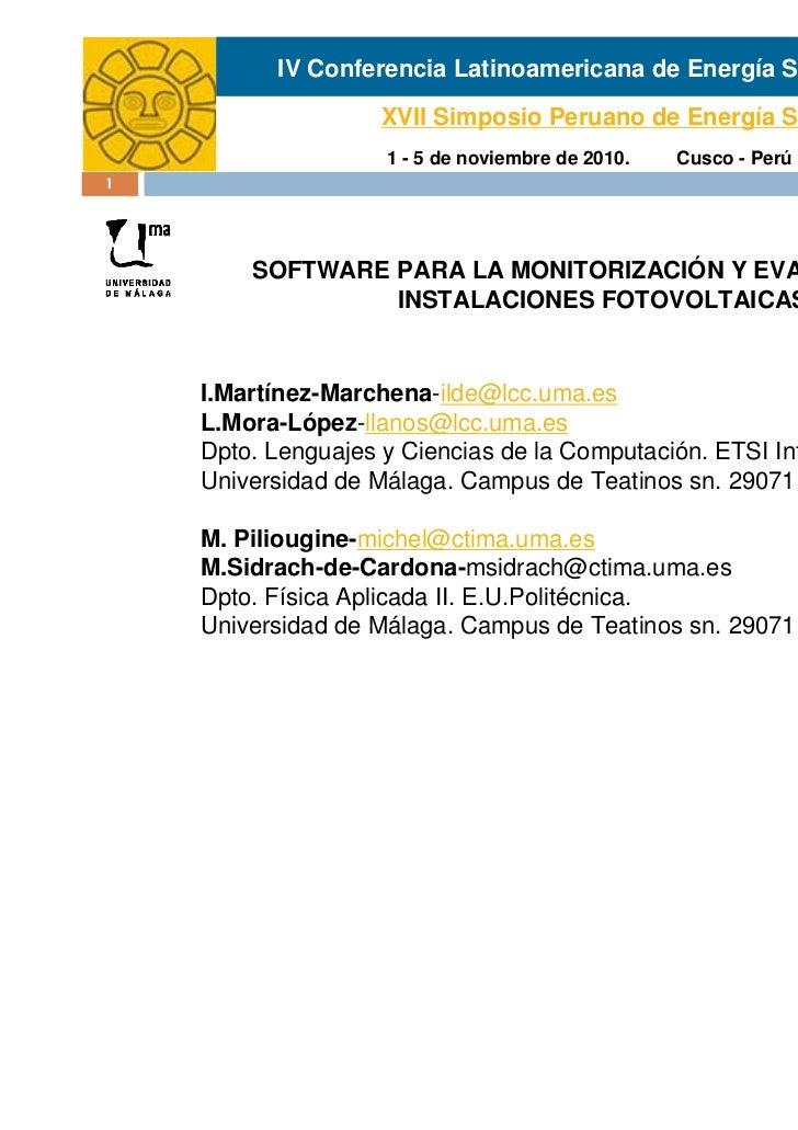 IV Conferencia Latinoamericana de Energía Solar                   XVII Simposio Peruano de Energía Solar                  ...