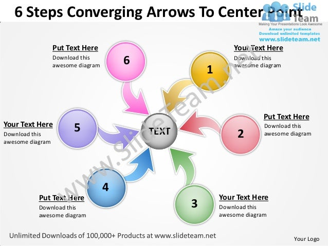 6 steps converging arrows to center point process software power point templates