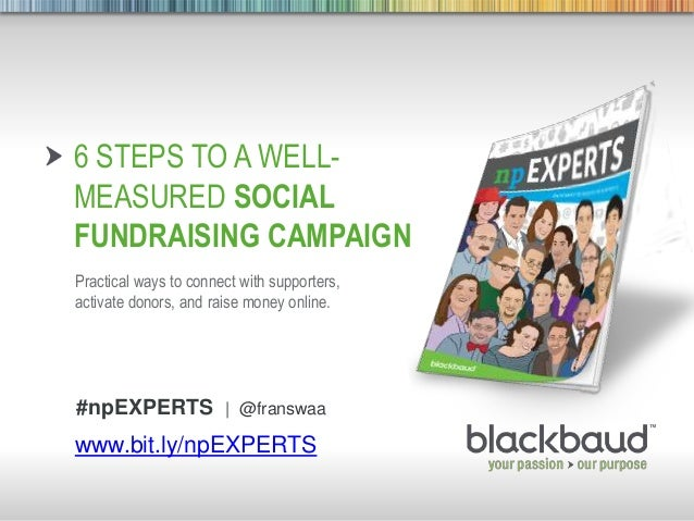 9/5/2013 Footer 1 6 STEPS TO A WELL- MEASURED SOCIAL FUNDRAISING CAMPAIGN Practical ways to connect with supporters, activ...