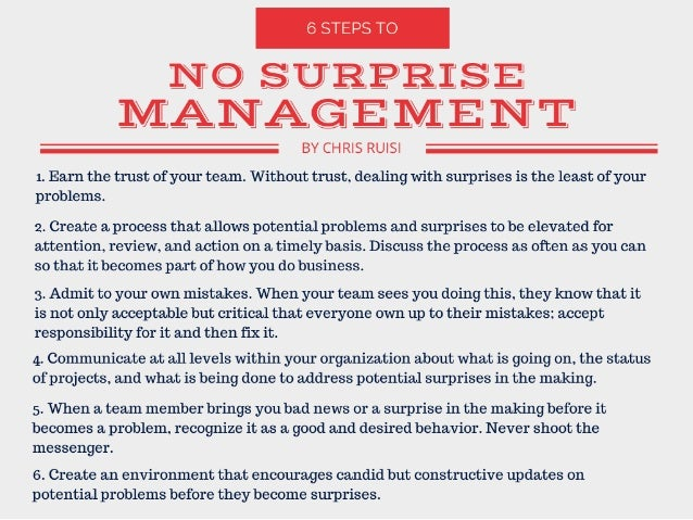 6 Steps to No Surprise Management