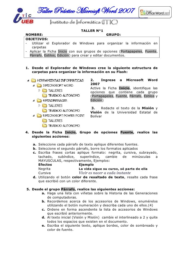 Taller Práctico Microsoft Word 2007                                  TALLER N°1NOMBRE:                                    ...