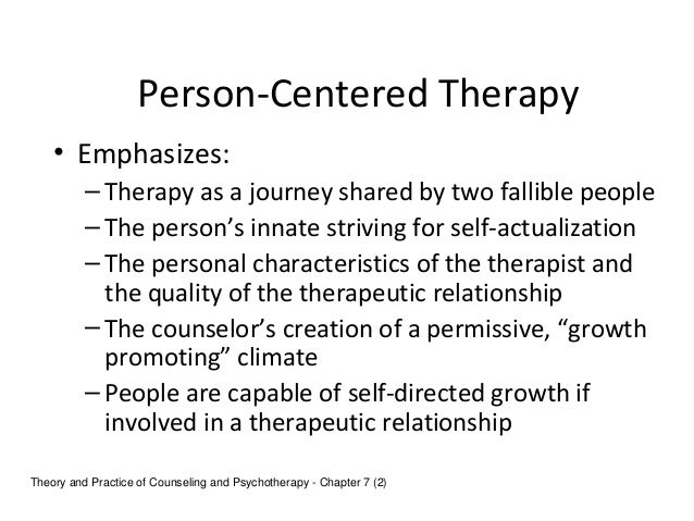 comparing the existential therapy and person centered therapy A somewhat more detailed explanation of the existential approach can be found on the page on existential counselling, while the page on person-centred counselling offers more details on that approach.