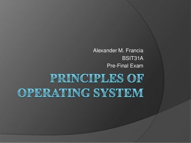 Alexander M. Francia BSIT31A Pre-Final Exam