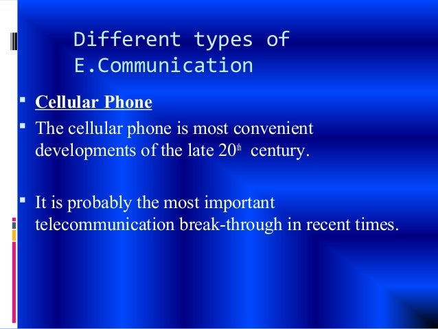 types of electronic communication Electronic communication can be carried out in a variety of formats and using a variety of tools, including telephones, computers, fax machines, mobile pagers, smartphones and radio these transmissions can involve video, photo, text or sound the united states department of justice has a specific.