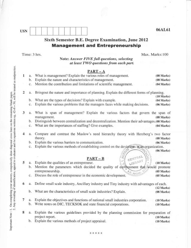 Computer Science and Information Science 6th semester(2012 June/July) Question Papers