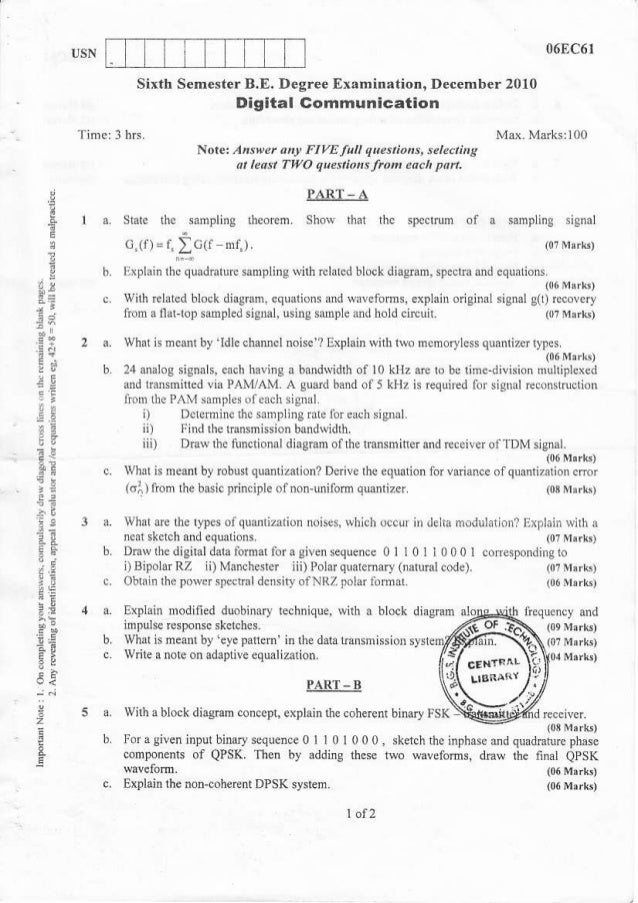 Electronic and Communication Engineering 6th Semester (2010-December) Question Papers