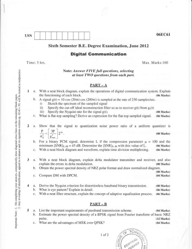 6th Semester Electronic and Communication Engineering (2012-June) Question Papers