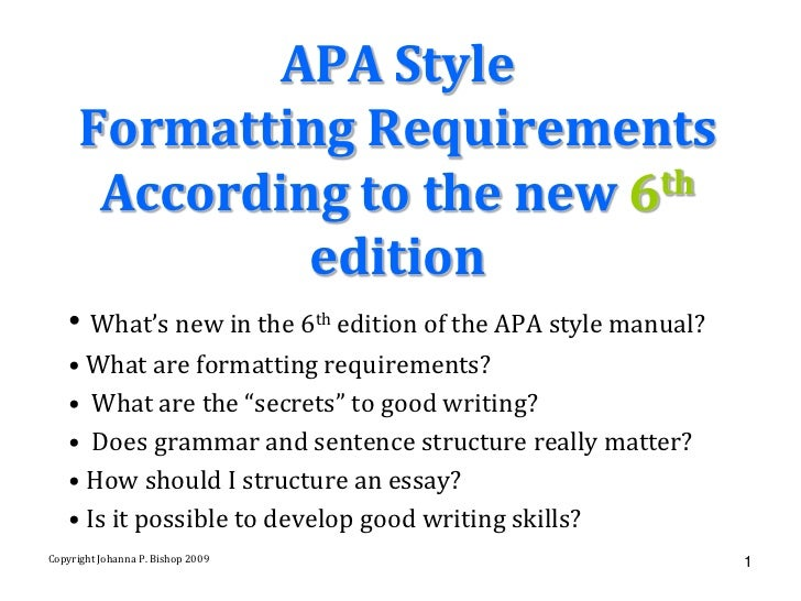 apa 6th edition research paper format Using the apa style manual (5th edition) the articles will be similar in format introduce you to the use of the apa manual as you write your research paper.
