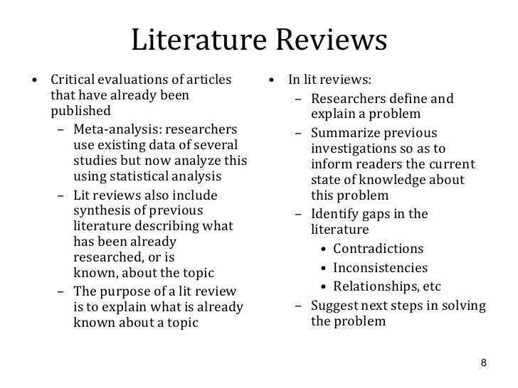 Sample of literature review format