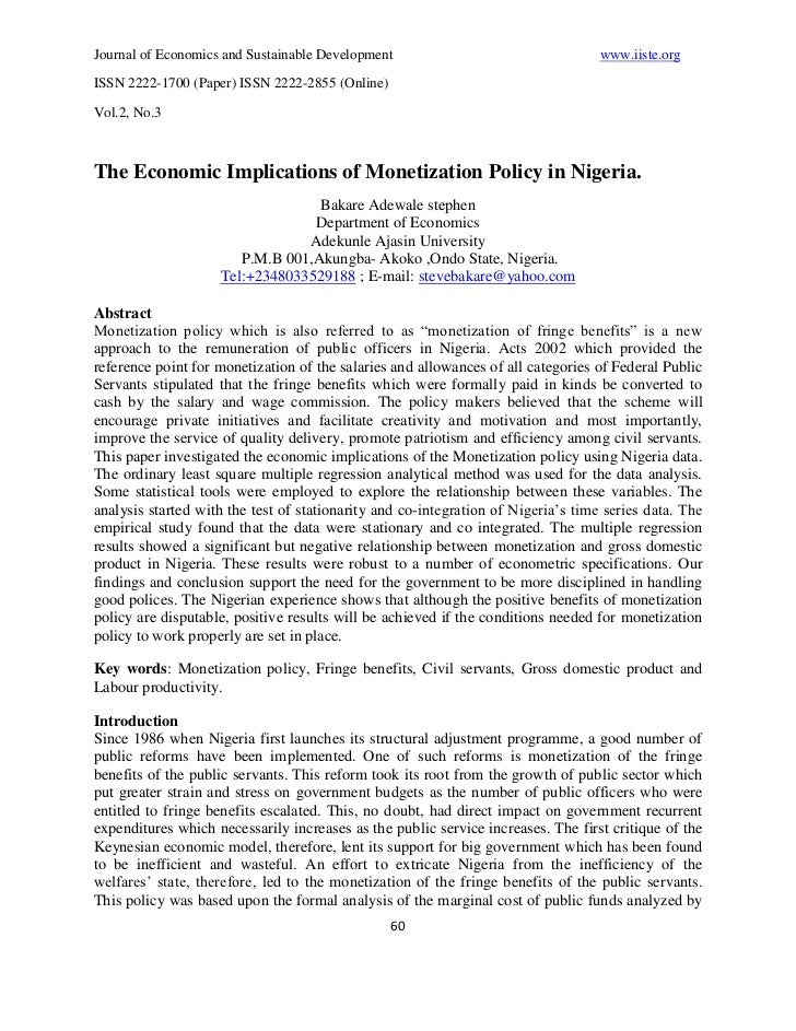Journal of Economics and Sustainable Development                                   www.iiste.orgISSN 2222-1700 (Paper) ISS...