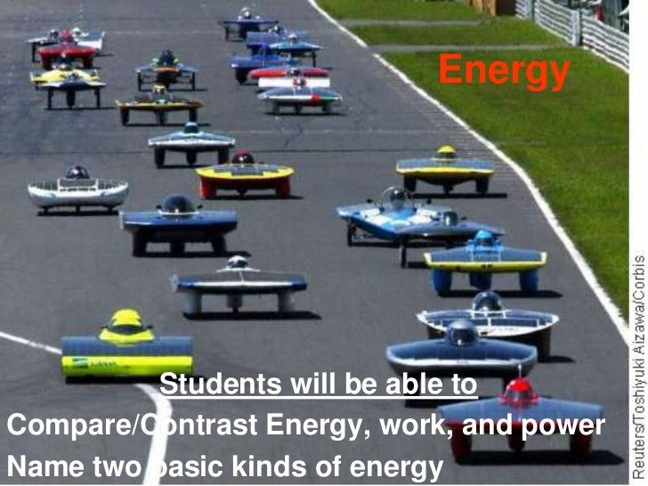 Energy<br />Students will be able to<br />Compare/Contrast Energy, work, and power<br />Name two basic kinds of energy<br />