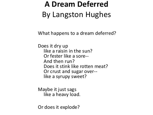 marxism and langston hughes dream deferred By james m wall what happens to a dream deferred the question comes from langston hughes' poem, harlem, which inspired lorraine hansberry to write her drama, a raisin in the sun, the first play written by an african american woman to be produced on broadway.