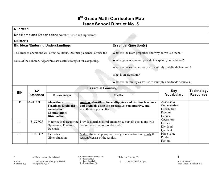 6th Grade Math Curriculum Map                                                          Isaac School District No. 5Quarter ...