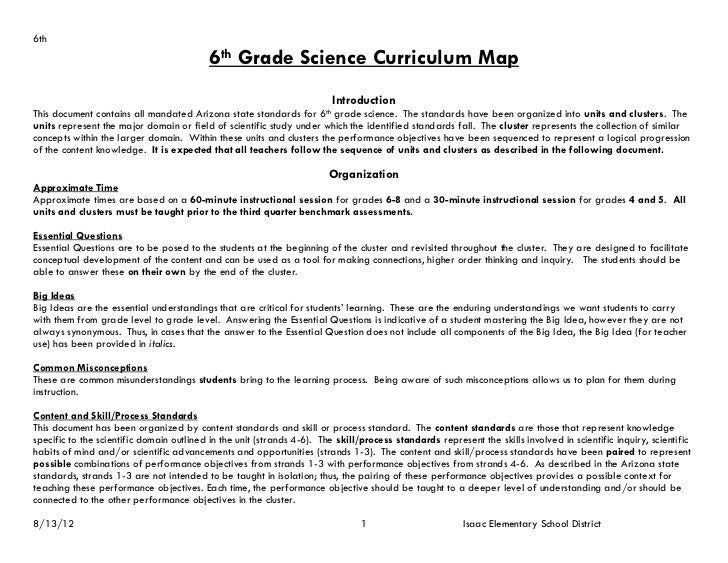 6th                                           6th Grade Science Curriculum Map                                            ...