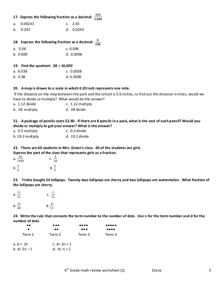 Fraction review worksheet 6th grade