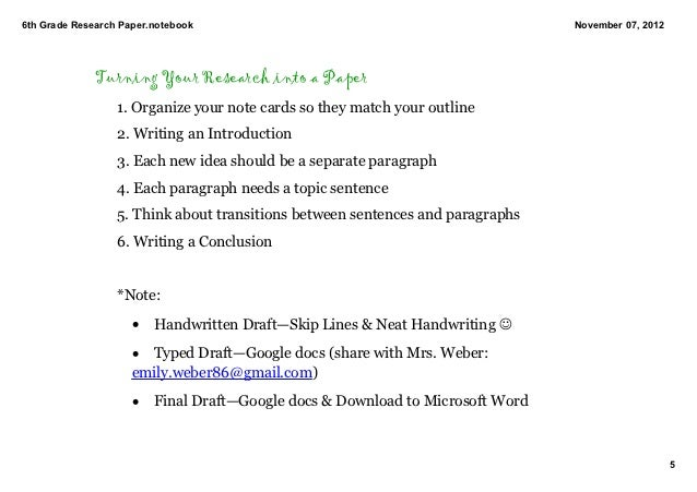 6th grader research paper outline examples