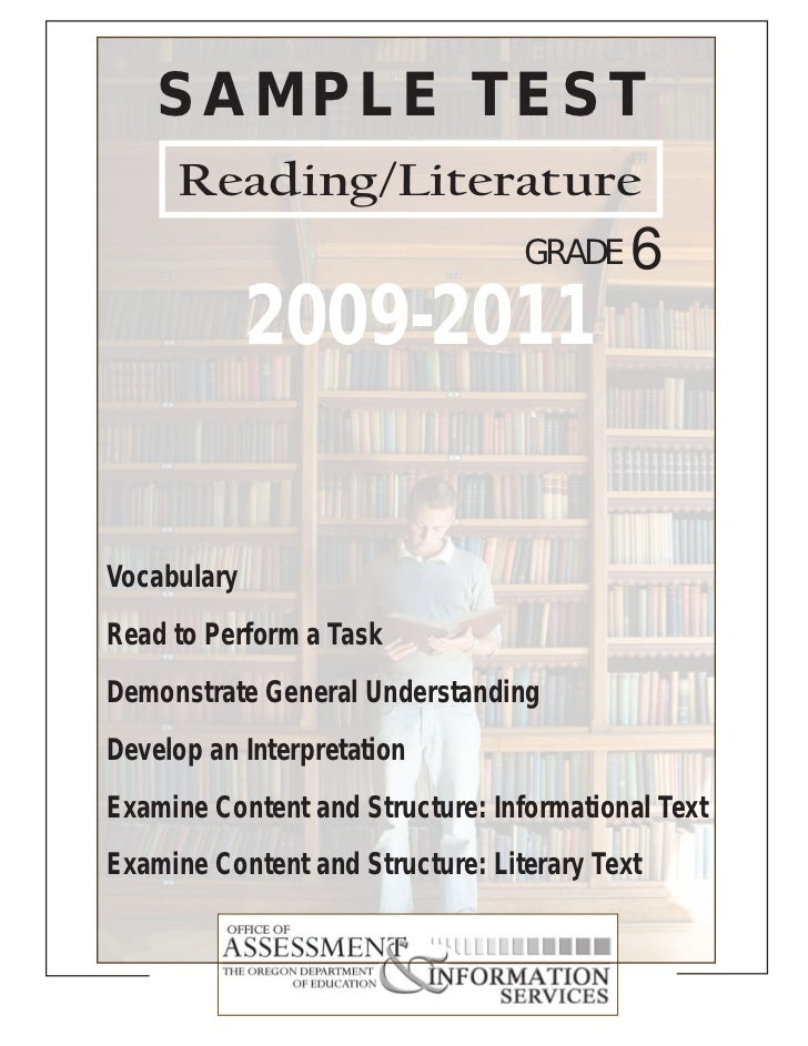 SAMPLE TEST     Reading/Literature                                  GRADE    6             2009-2011VocabularyRead to Perf...