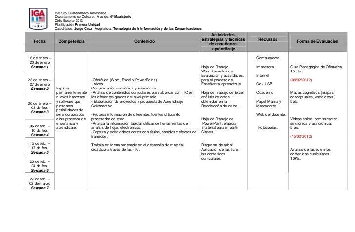 Instituto Guatemalteco Americano                Departamento de Colegio, Área de: 6º Magisterio                Ciclo Escol...