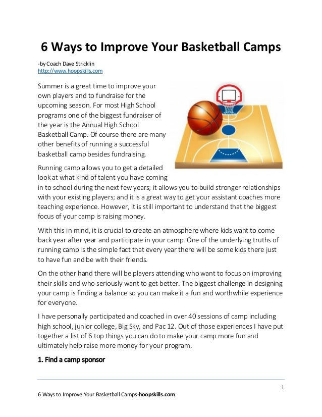 1 6 Ways to Improve Your Basketball Camps-hoopskills.com 6 Ways to Improve Your Basketball Camps -by Coach Dave Stricklin ...