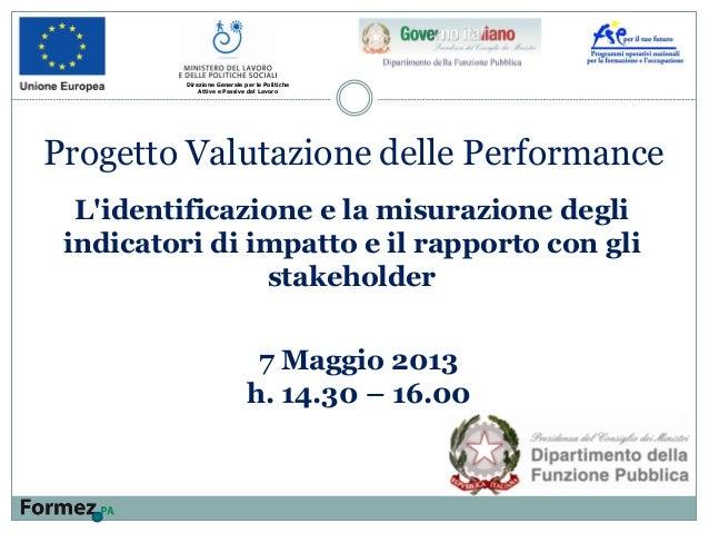 L'identificazione e la misurazione degli indicatori di impatto e il rapporto con gli stakeholder Direzione Generale per le...