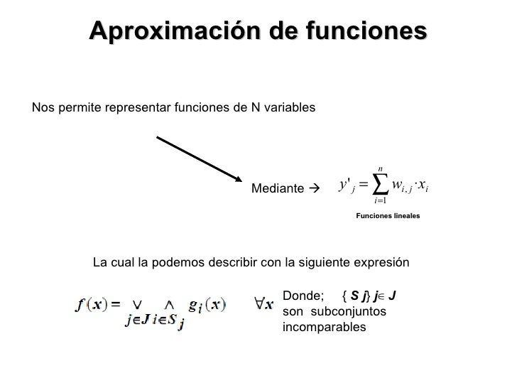 Aproximación de funciones Nos permite representar funciones de N variables Donde;  {  S   j }  j ∈  J  son  subconjuntos i...