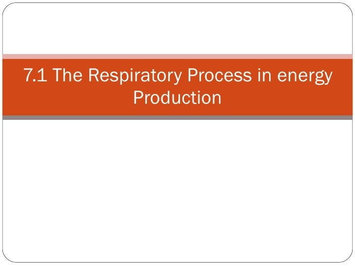 7.1 The Respiratory Process in energy Production