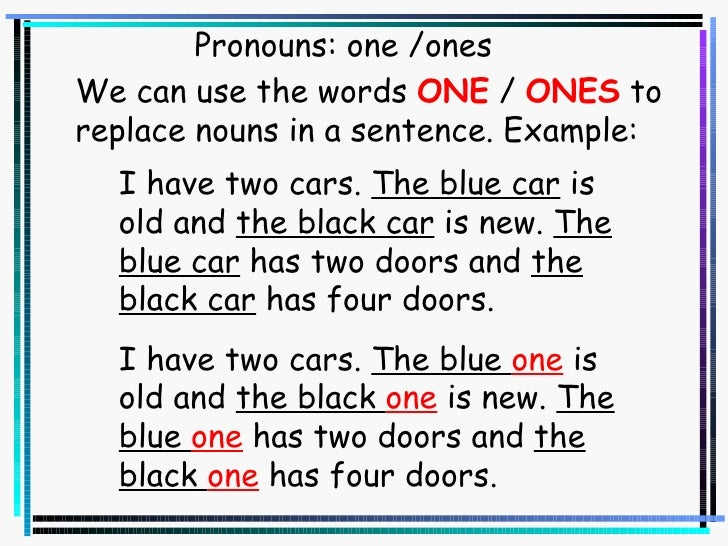Pronouns One Ones