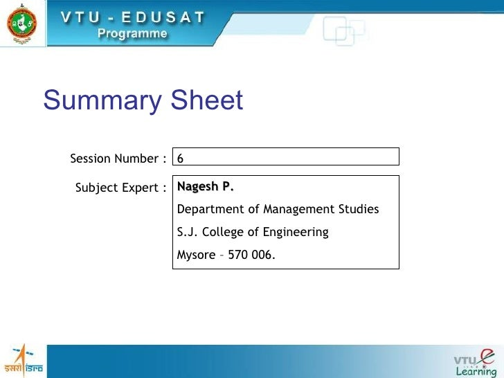 Summary Sheet Session Number : Subject Expert : 6  Nagesh P. Department of Management Studies S.J. College of Engineering ...
