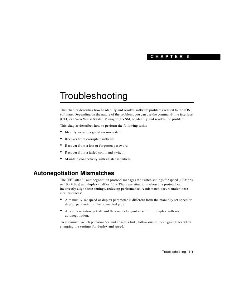 C H A PT ER            5             Troubleshooting         This chapter describes how to identify and resolve software p...