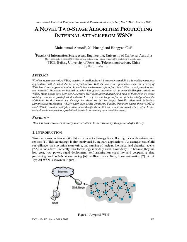A NOVEL TWO-STAGE ALGORITHM PROTECTING  INTERNAL ATTACK FROM WSNS