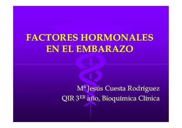 FACTORES HORMONALESFACTORES HORMONALES EN EL EMBARAZOEN EL EMBARAZO Mª Jesús Cuesta RodríguezMª Jesús Cuesta Rodríguez QIR...