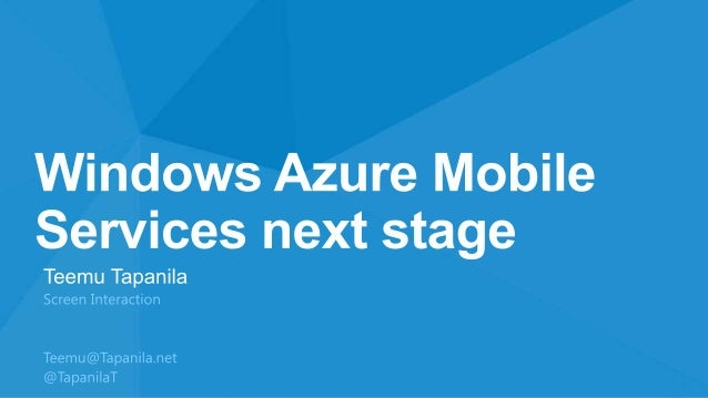 CloudBrew: Windows Azure Mobile Services - Next stage