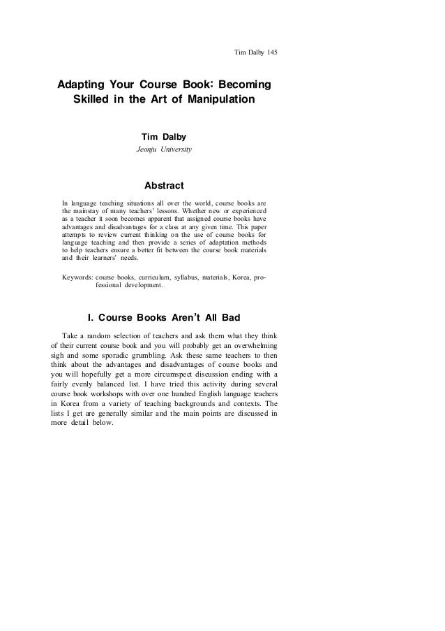 Adapting Your Course Book :Becoming Skilled in the Art of Manipulation