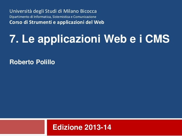 7. Applicazioni web e CMS