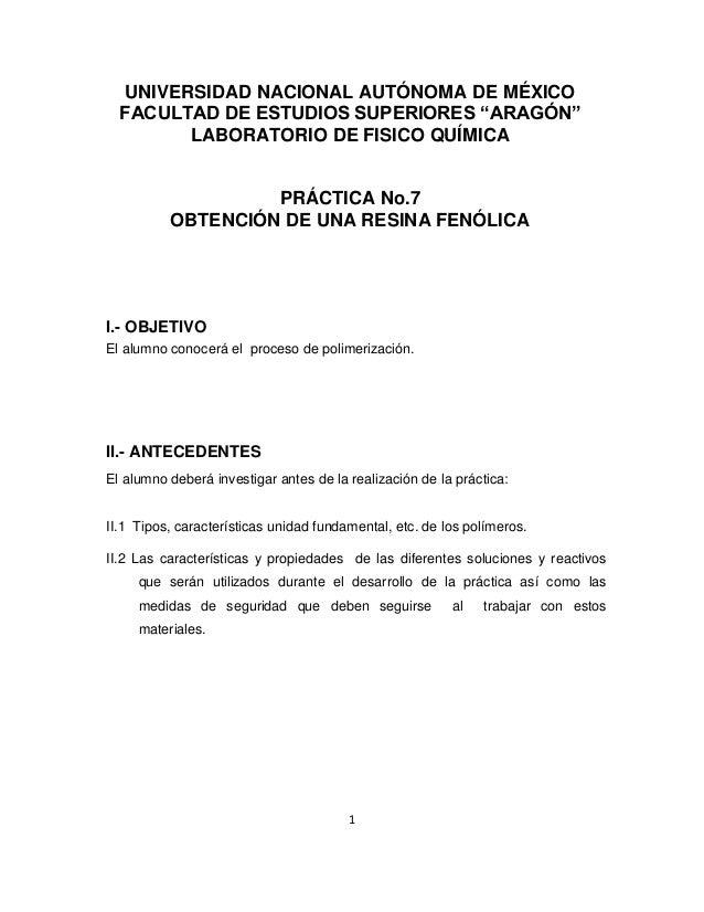 """1 UNIVERSIDAD NACIONAL AUTÓNOMA DE MÉXICO FACULTAD DE ESTUDIOS SUPERIORES """"ARAGÓN"""" LABORATORIO DE FISICO QUÍMICA PRÁCTICA ..."""
