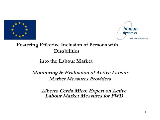 1 Fostering Effective Inclusion of Persons with Disabilities into the Labour Market Monitoring & Evaluation of Active Labo...