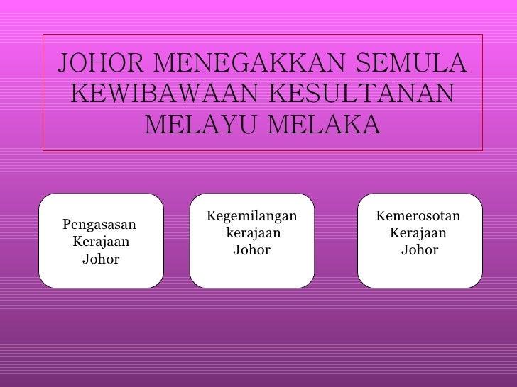 JOHOR MENEGAKKAN SEMULA KEWIBAWAAN KESULTANAN MELAYU MELAKA Pengasasan  Kerajaan Johor Kegemilangan kerajaan Johor Kemeros...